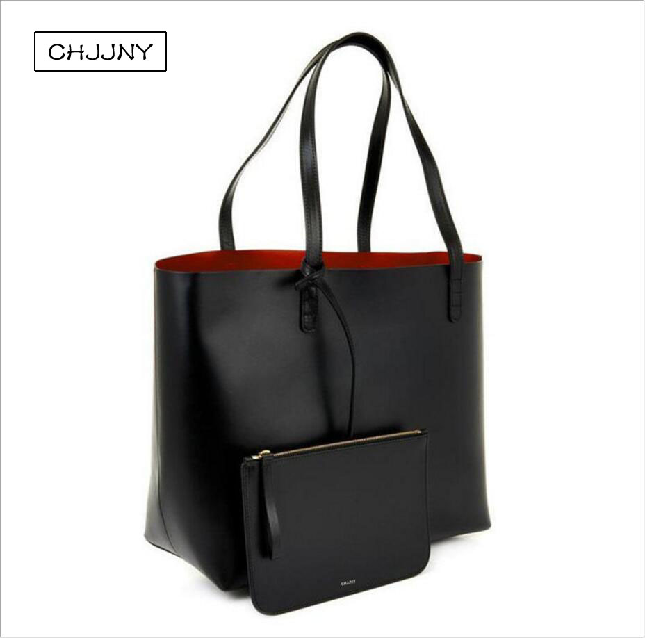 CHJJNY tote women shopper large leather shoulder never full bag mansur designer and gavriel with original logo famous brand 2016 newest mansur gavriel genuine leather women circular tote bag lady hand bag logo printed free shipping