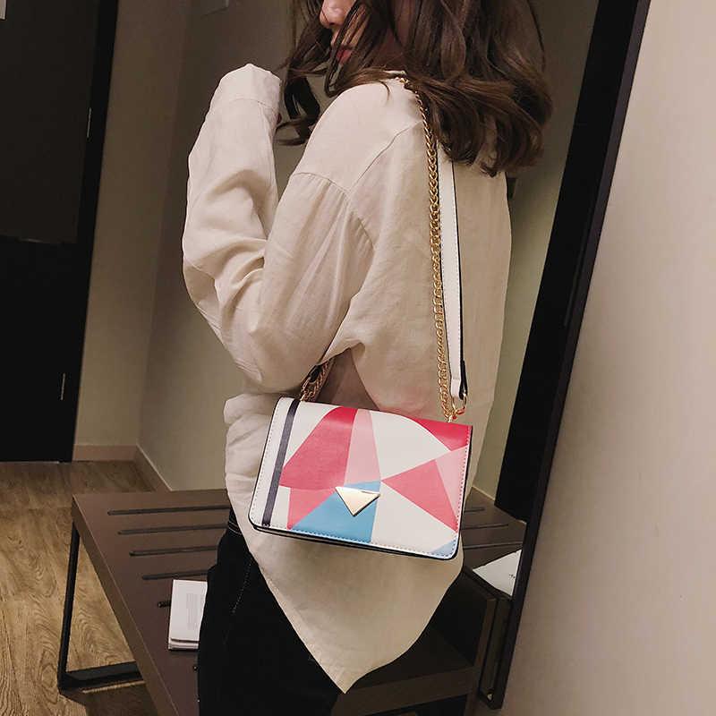 Mulheres marca saco bordado bolsa das mulheres pintura a óleo de moda bolsa de ombro cadeia de bolsa saco do mensageiro 2019 novo Partido pintado pacote