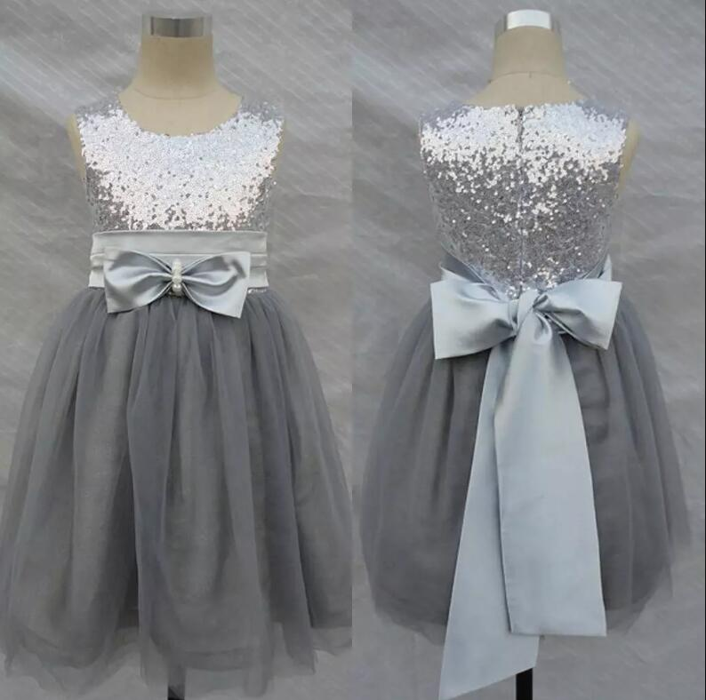 Bling Bling Silver Sequins Flowers Girl Dresses Wedding with Sash Bow Tulle Girls Party Pageant Gown Size 2-16