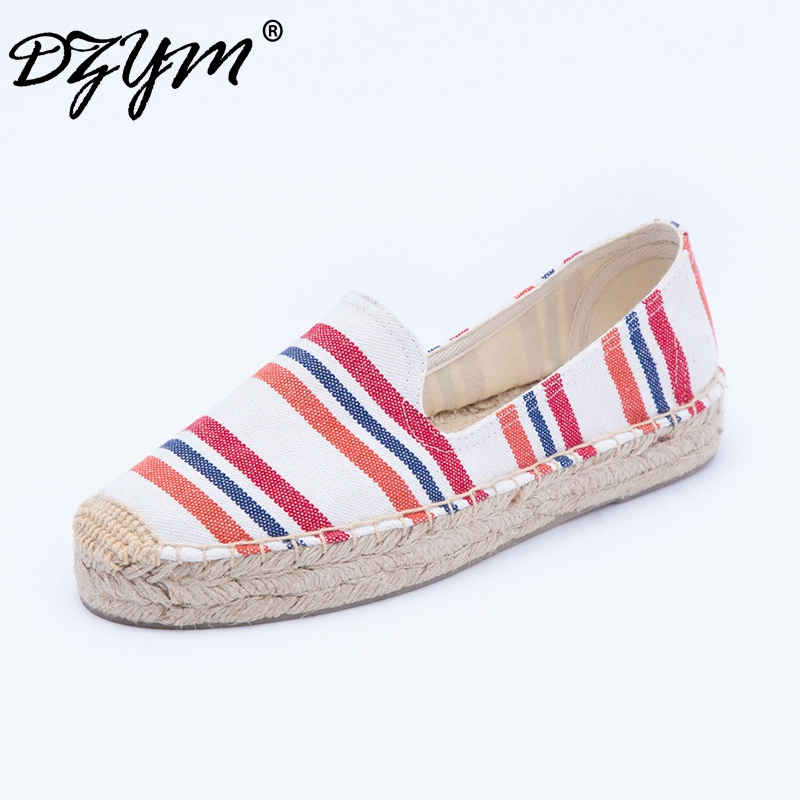DZYM 2019 Spring Summer Stripes Sneakers Gingham Classic Canvas Espadrilles Women Flats Plus Size High Quality