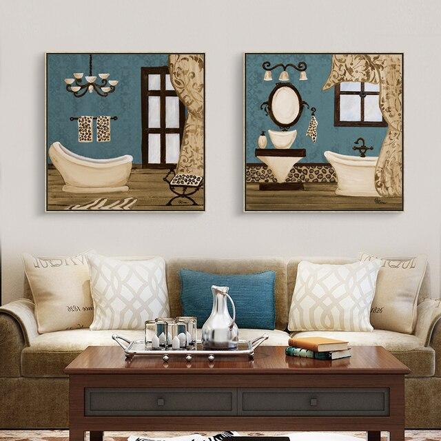 Moderne Retro Badezimmer Dekor Wandmalerei Kunst Poster Modulare Bild Für Wohnzimmer  Leinwand Malerei Kunstwerke Decor Malerei