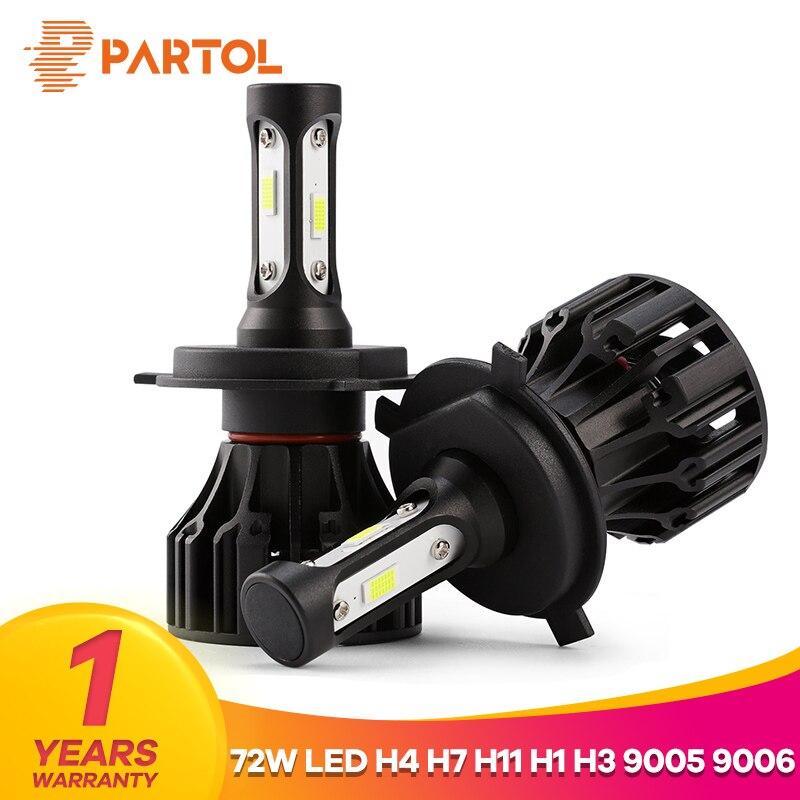 Partol T5 LED H4 Hi Lo Beam H7 H11 H1 9005 9006 H3 Car LED Headlight Bulbs 72W 8000LM Automobile Headlamp Fog Light 6500K 12V
