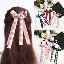 LNRRABC FASHION 2018  Hair Rope Elastic Bands Korean Sweet ribbon bowknot Girls Women grid Accessories 1PC ponytail