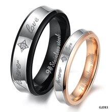 Ювелирные Изделия Из Нержавеющей Стали CZ кольца Пара Влюбленных Аксессуары Pattern Stamp «Forever Love» Кольца Мужчины Женщины Лучший Подарок