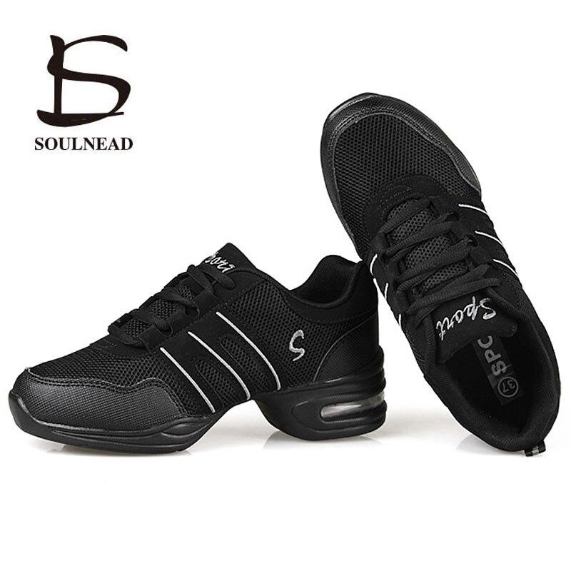 Sapatos de dança para as mulheres esportes característica moderna dança jazz sapatos sola macia respiração sapatos de dança prática feminina tênis ue 34-42