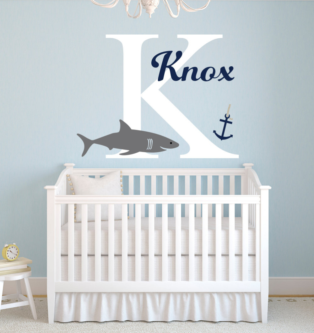 Personalized name shark wall stickers for boys bedroom baby nursery wall decals home decor bedroom custom initial mural jw011 in wall stickers from home