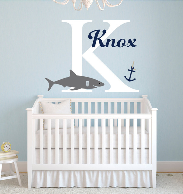 Personalized Name Shark Wall Stickers For Boys Bedroom Baby Nursery Wall  Decals Home Decor Bedroom Custom