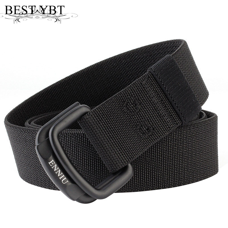 Best YBT Unisex Canvas   belt   Elasticity Woven Alloy double ring buckle Men   belt   trend casual Men & Women outdoor cowboy   belt