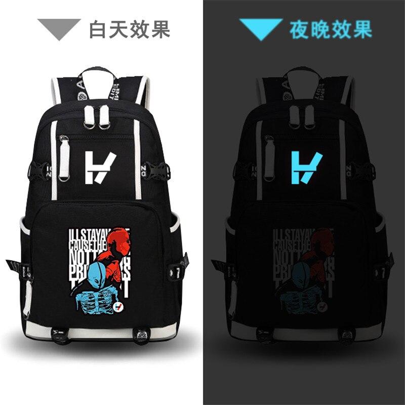 Двадцать один пилоты-рок музыки группы печати рюкзак в стиле хип-хоп Mochila Masculina холст рюкзак для ноутбука школьные сумки рюкзак