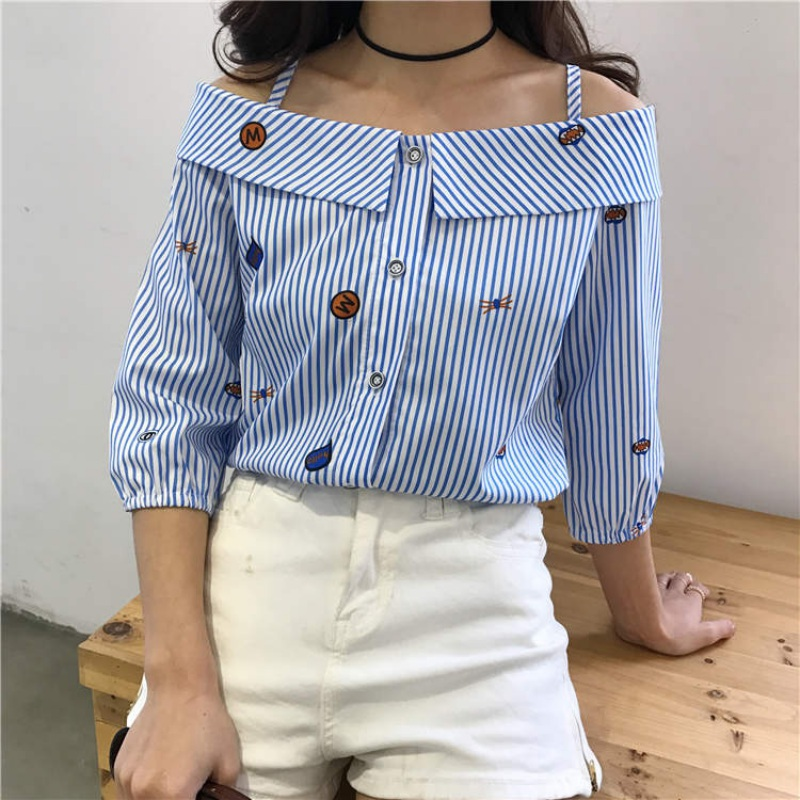 Girls Shirt Cartoon Embroidered Blouse Fashion Streetwear Tops Sweet Double Shoulder Strap Low Collar Shirt S4