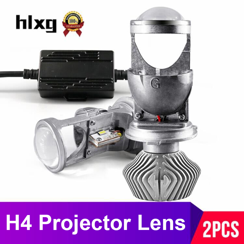 hlxg 70W Pair Lamp H4 LED Mini Projector Lens Automobles LED Bulb LED Conversion Kit Hi