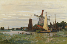 Claude Monet Painting  Impressionist Windmill At Zaandam Landscape Photo to Canvas Oil Painting Wall Art Decoration Suppliers painting the impressionist landscape