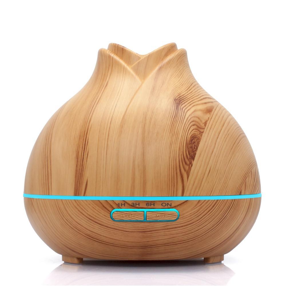300 ml Rose forme Grain de bois humidificateur d'air à ultrasons Portable Mini arôme diffuseur d'huile essentielle pour voiture chambre bureau à domicile