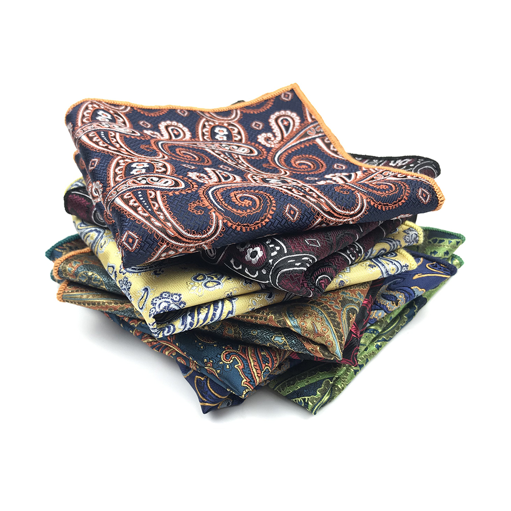 2019 New Arrived 100% Polyester Woven Paisley Handkerchief Pocket Squares For Men Matching Necktie Bowtie Available