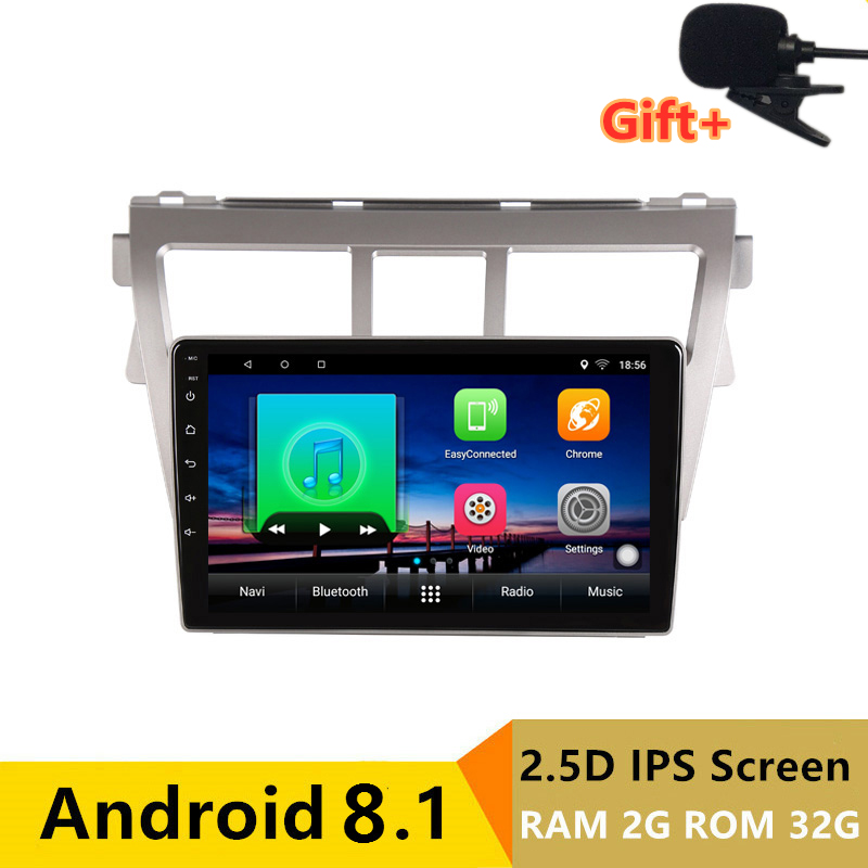 "9"" 2G RAM 32G ROM Android Car DVD Video Player GPS For Toyota Vios YARIS 2008 2009 2010 2011-2013 audio radio stereo navigation"