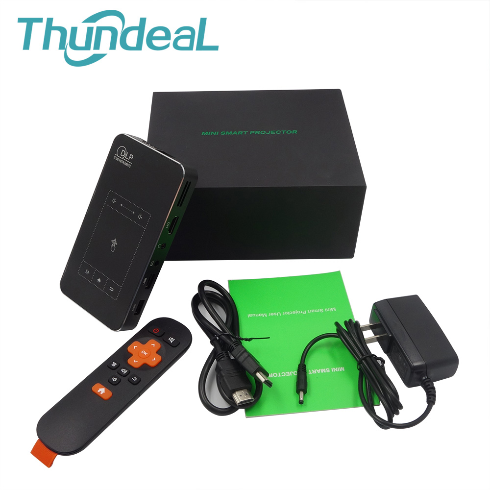 ThundeaL T18 DLP Mini Projector Android 7.1 WiFi 8G 32G ROM 3D P8I 4K Pico Projector Touch Pad Battery 5000mAh Bluetooth HDMI In