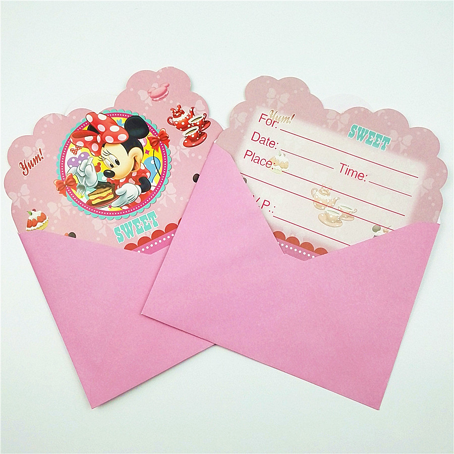 6pc/set Minnie Mouse Invitation Cards Envelope Party Supplies Kid Birthday Party Decoration Baby Shower Cartoon Minnie Favors