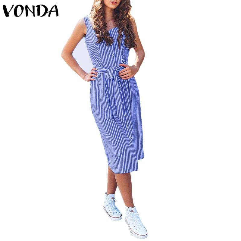 VONDA Women Striped Dress 2018 Summer Fashion Midi Vestidos Casual Vintage Sexy High Waist Sleeveless Dresses Plus Size