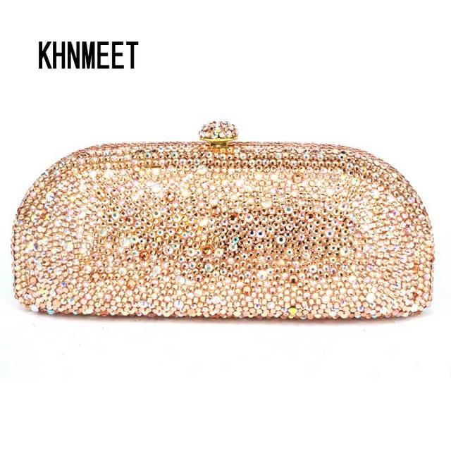 42d4a99ecb LaiSC Champagne Evening Clutch Bag Crystal Party Purse Female Chain Bag  Luxury Rhinestone Wedding Bag Bridal Clutch SC305