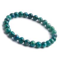 Genuine Green Natural Malachite Chrysocolla Gemstone Crystal Stretch Round Beads Bracelet 7mm