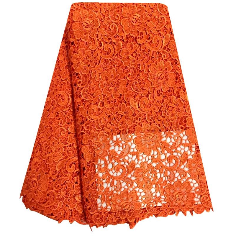 High Quality Nigerian Lace Fabrics Orange African French Net Lace Fabric Embroidered Tulle Mesh Lace Fabric