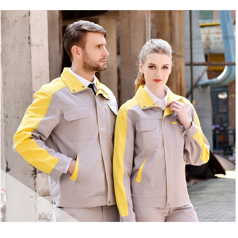 10 Sets  Cotton Long Sleeved Work Clothes Suit Male Auto Repair Clothing Labour Protective Uniforms Electric Welding Work Wear