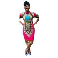 חמה למכירה 2016 אופנה חדשה מסורתי עיצוב הדפסת בגדים אפריקאים דאשיקי צוואר רקום שמלות אפריקאיות נשים נחמד