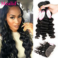 Mealid Brazilian Loose Wave With Frontal Closure Brazilian Lace Frontal Closure With Bundles Loose Wave 3 Bundles With Frontal