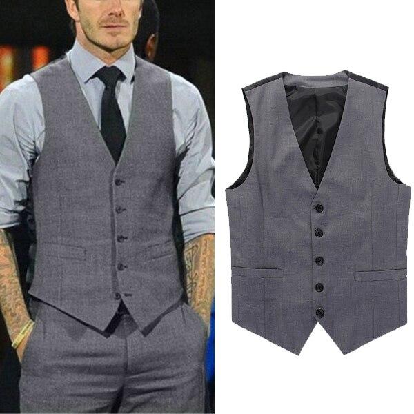 08b6e9659df5 Livraison gratuite Beckham Vest hommes costume formel V - cou gilet Slim  Fit mode gris foncé