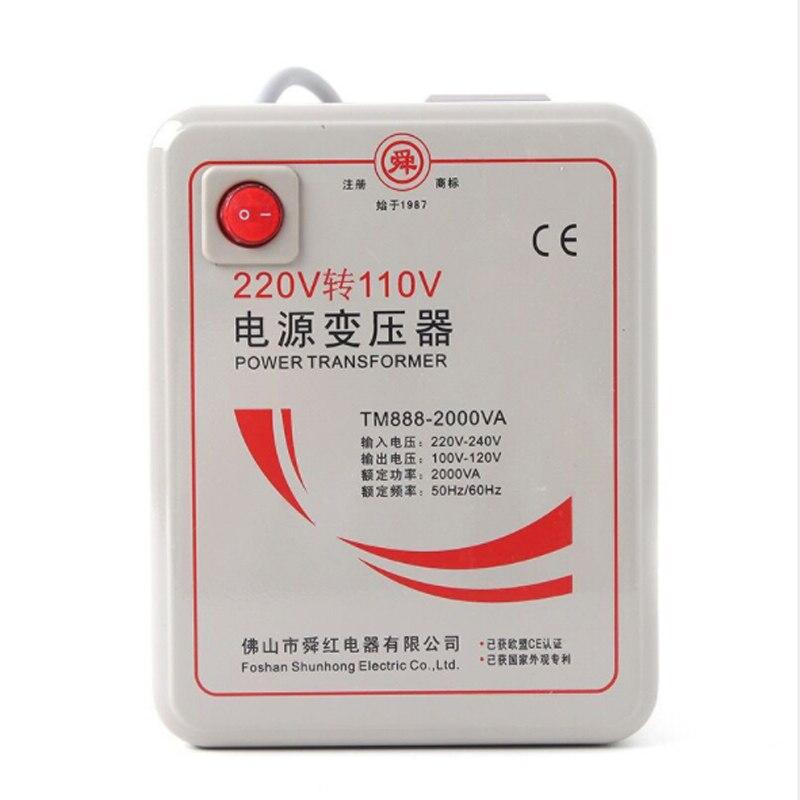 Transformateur de puissance haute puissance 2000 W, convertisseur de puissance AC220V à AC110V