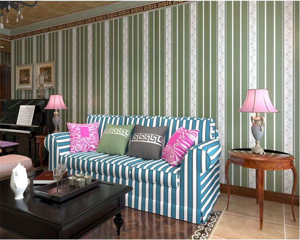 beibehang Mediterranean striped vintage non-woven papel de parede wallpaper gold living room sofa wall paper tv background blue beibehang mediterranean blue striped 3d wallpaper non woven bedroom pink living room background wall papel de parede wall paper