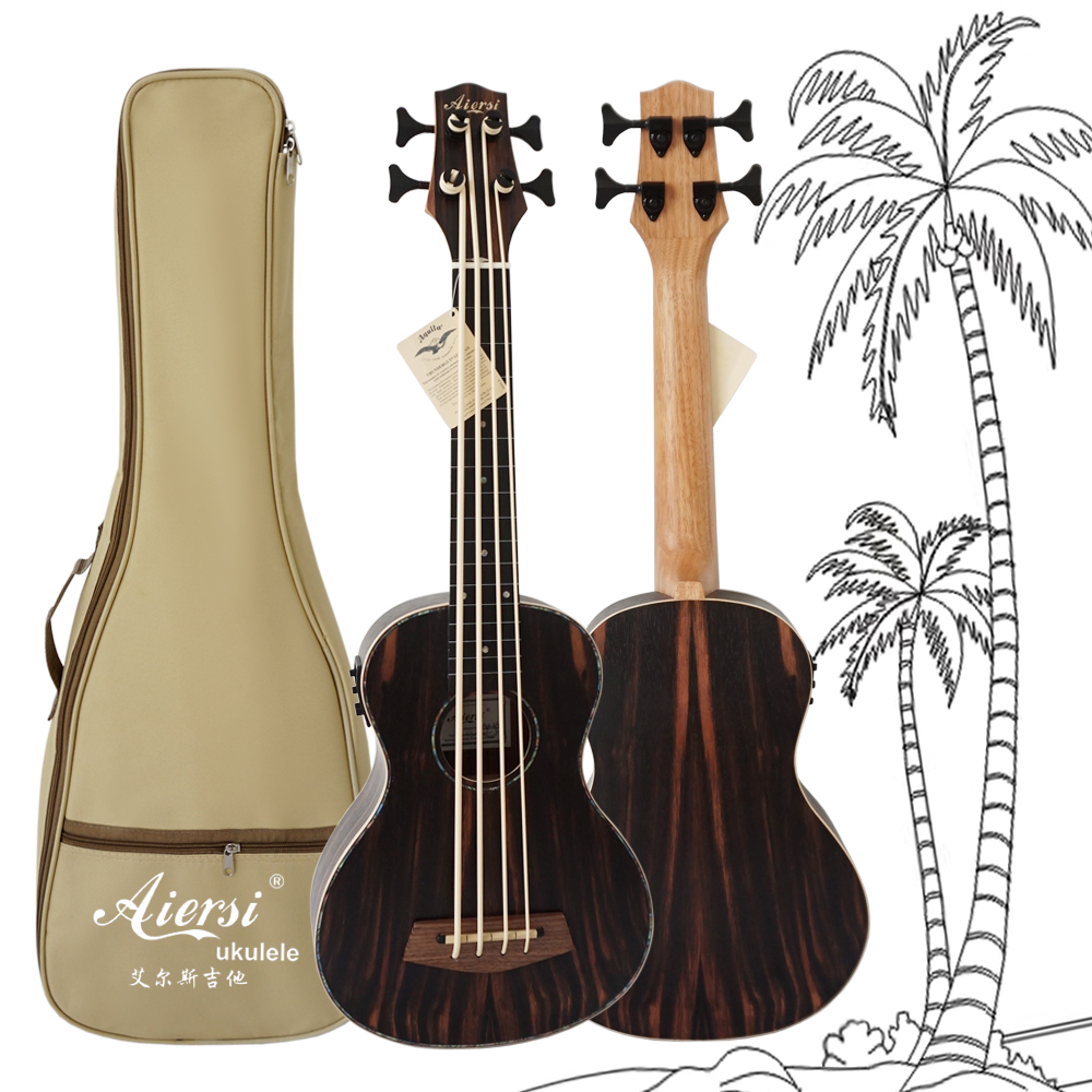 High Grade Java Ebony Body 30 Inch Fretless Electric U Bass Ukulele Guitar With Free Bag free shipping 30inch children electric bass suitable for professional performance 30 inch bass goods in stock outstanding play