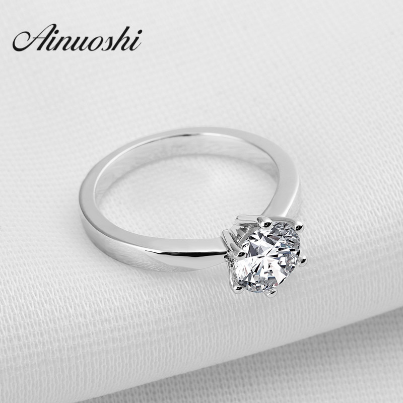 AINUOSHI Classic 1 Carat Round Cut Solitaire Finger Ring Engagement Wedding Accessories 6 Claws 925 Sterling Silver Lover Rings