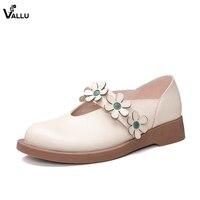 2018 VALLU Handmade Shoes Women Flats Floral Strap Platform Round Toes Vintage Ladies Four Season Soft