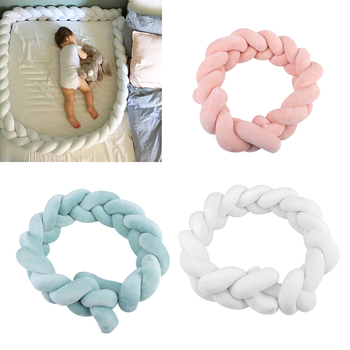 1M Length Baby Bed Bumper Solid Plush Knot Crib Bumper Kids Bed Newborn Baby Crib Protector Baby Room Decoration High Quality Детская кроватка