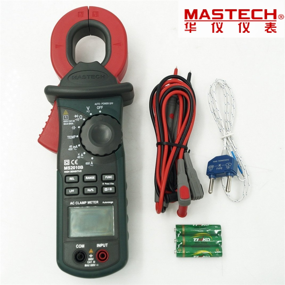 2017 Digital LCD Electrical Professional Multifunction High Sensitivity Leakage Current Tester Clamp Meter DMM MASTECH MS2010B ms2010b digital clamp meter ac dc mini handheld voltage current resistance tester sensitivity digital ac leakage clamp meter