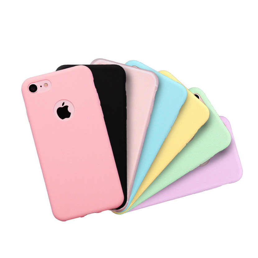 Phone Cases For iPhone X 8 7 6 6s Plus 5S 5 SE Simple Solid Color Ultrathin Soft TPU Cases Fashion Candy Color Back Cover Capa