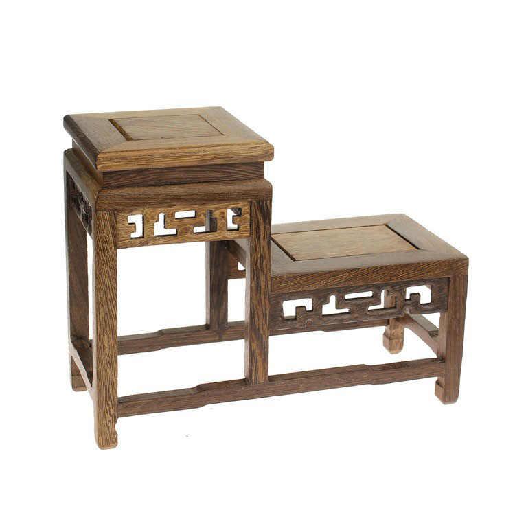 De Madera de wengué tetera té estante de alta y baja rack pequeño estante rack de madera Madera de nivel pequeño Gabinete Curio de base