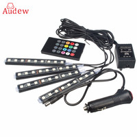 RGB 4x 36 LED Car Charge 12V 10W Glow Interior Decorative 4in1 Atmosphere Blue Inside Foot