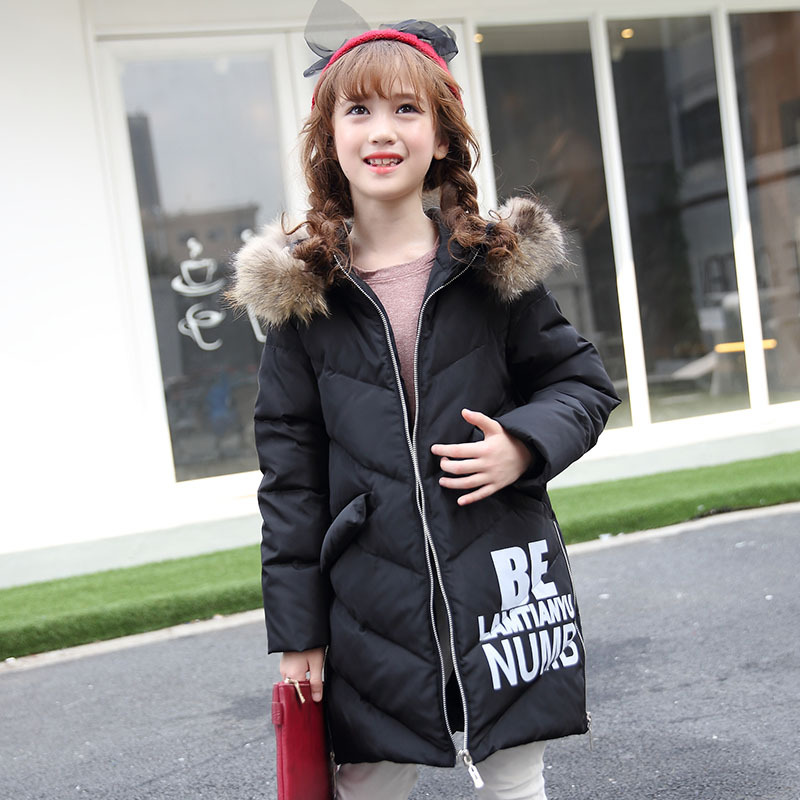 -30 Degrees Girls Winter Down Jacket 2016 New Children s Duck Down Kids Outerwears Big Wool Collar Warm Baby Coats 6-13Y