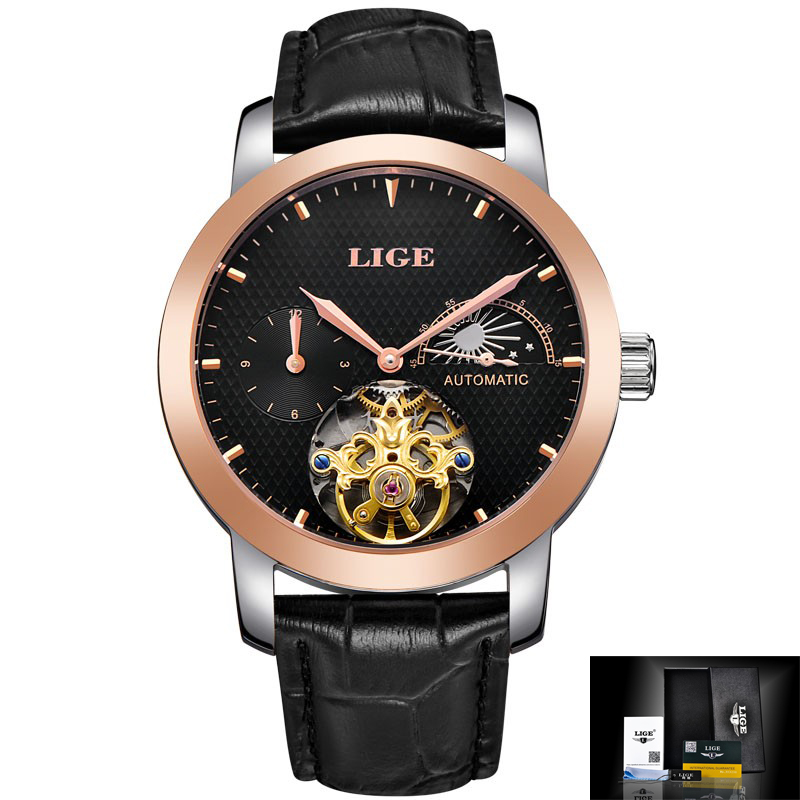 LIGE Mens Watches Top Brand Luxury Moon Phase Automatic Watch men Dive 50m Business Leather Gold Man Clock relogio masculino
