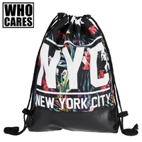NYC Tropical Floral Printing Leather Bottom Backpack Women 2017 Brand New Summer Beach Men Leisure Mochila