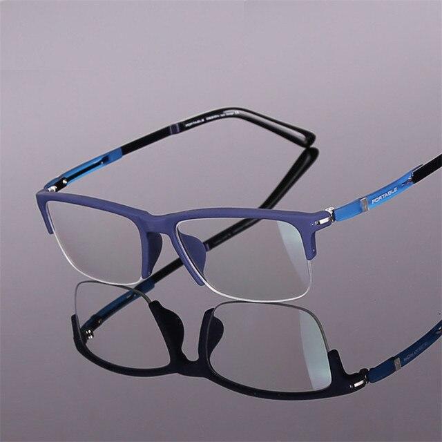 Дизайнер очки Мода TR90 Половина очки рамка сверхлегкий близорукость мужчин и женщин ретро глаз коробка рамы 9163 очками