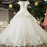 LS55410 Two Layers Skirt Tulle Wedding Dress Short Sleeves Scoop Neck Lace Edge Lace Up Back