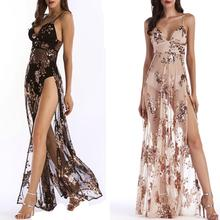 2019 New Yfashion Women Sequined Shoulder Strap Dress Sexy Deep V Neck Backless