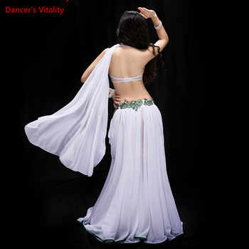 new women dance contest costume 3 piece set dance oriental performance show wear bling bling max outer panel red white