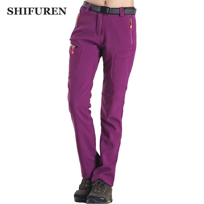 6526fc96fb9 Online Shop SHIFUREN Winter Women Hiking Pants Thermal Inner Fleece Sports Outdoor  Softshell Trousers Camping Ski Climbing Pants Plus Size