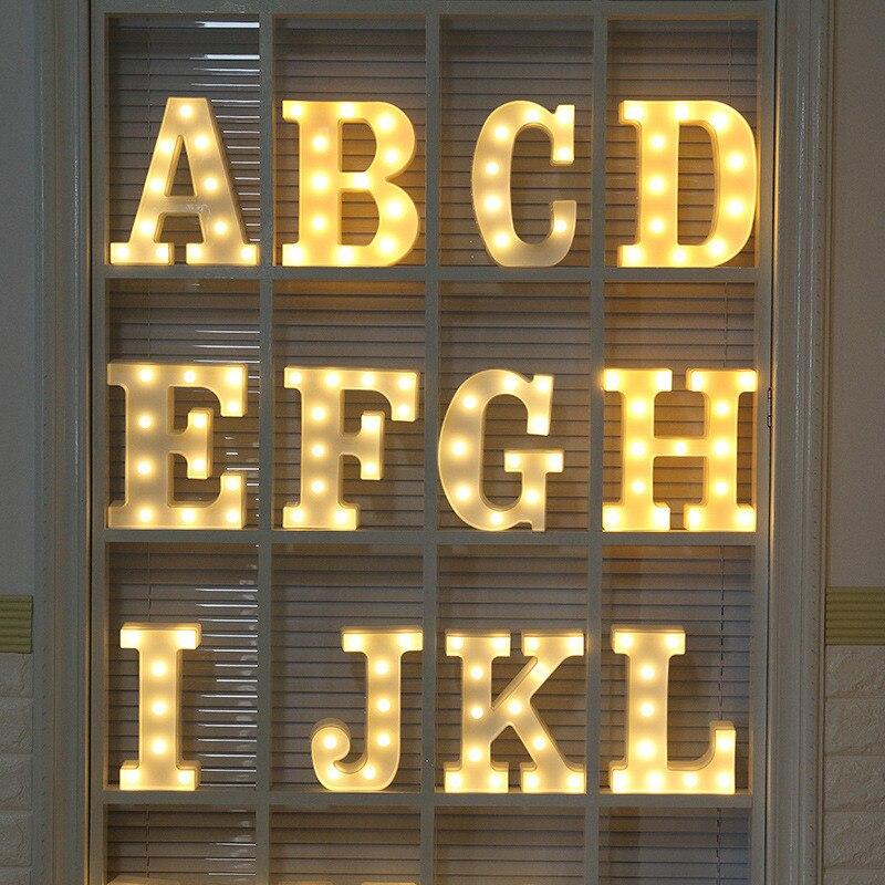 Luminous LED Letter Night Light Creative Plastic 26 Alphabet Battery Home Lamp for Christmas Romantic Wedding Party Decoration classic candlestick hollow iron art lamp for romantic wedding home decoration