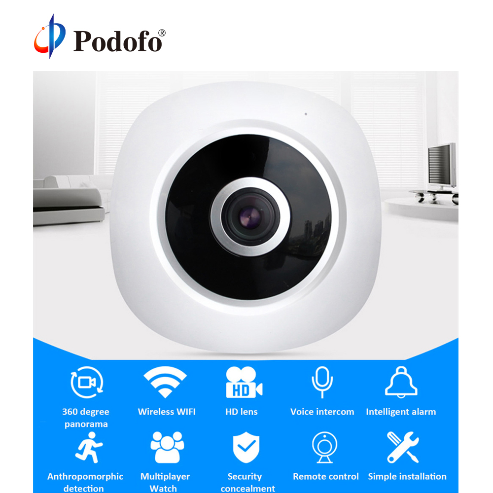 Podofo HD Wifi IP Camera Home Security Wireless 360 Degree Panoramic CCTV Camera Night Vision Fish