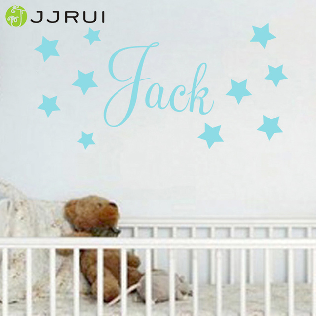 jjrui baby boys wall sticker personalised stars child name bedroom